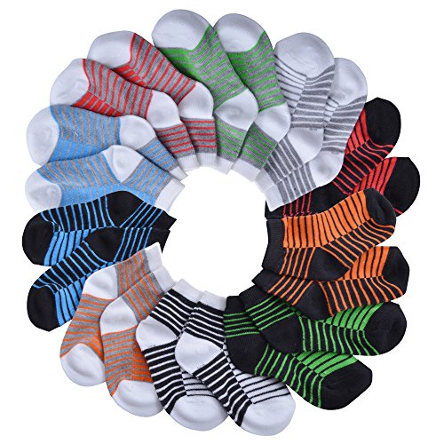 Barehugs Infant Boys All Weather No Show Socks - 10 Pack - White Stripe / Black Stripe - 12 - 24 Months