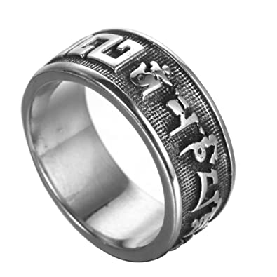 HIJONES Mens Stainless Steel Buddhha Mantra Lucky Spinner Ring Silver