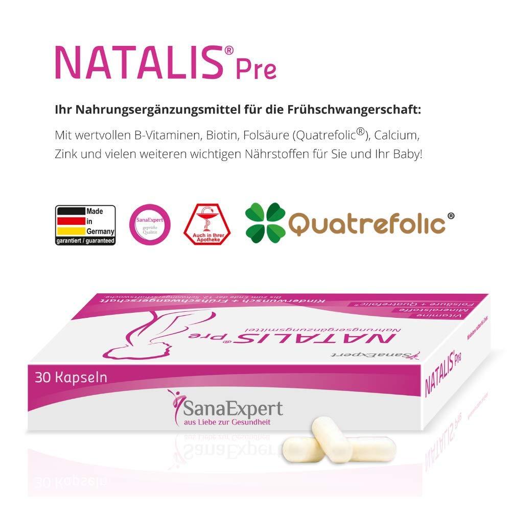 SanaExpert Natalis Pre - Acido fólico, vitaminas y minerales para una concepción saludable, 30 cápsulas: Amazon.es: Salud y cuidado personal