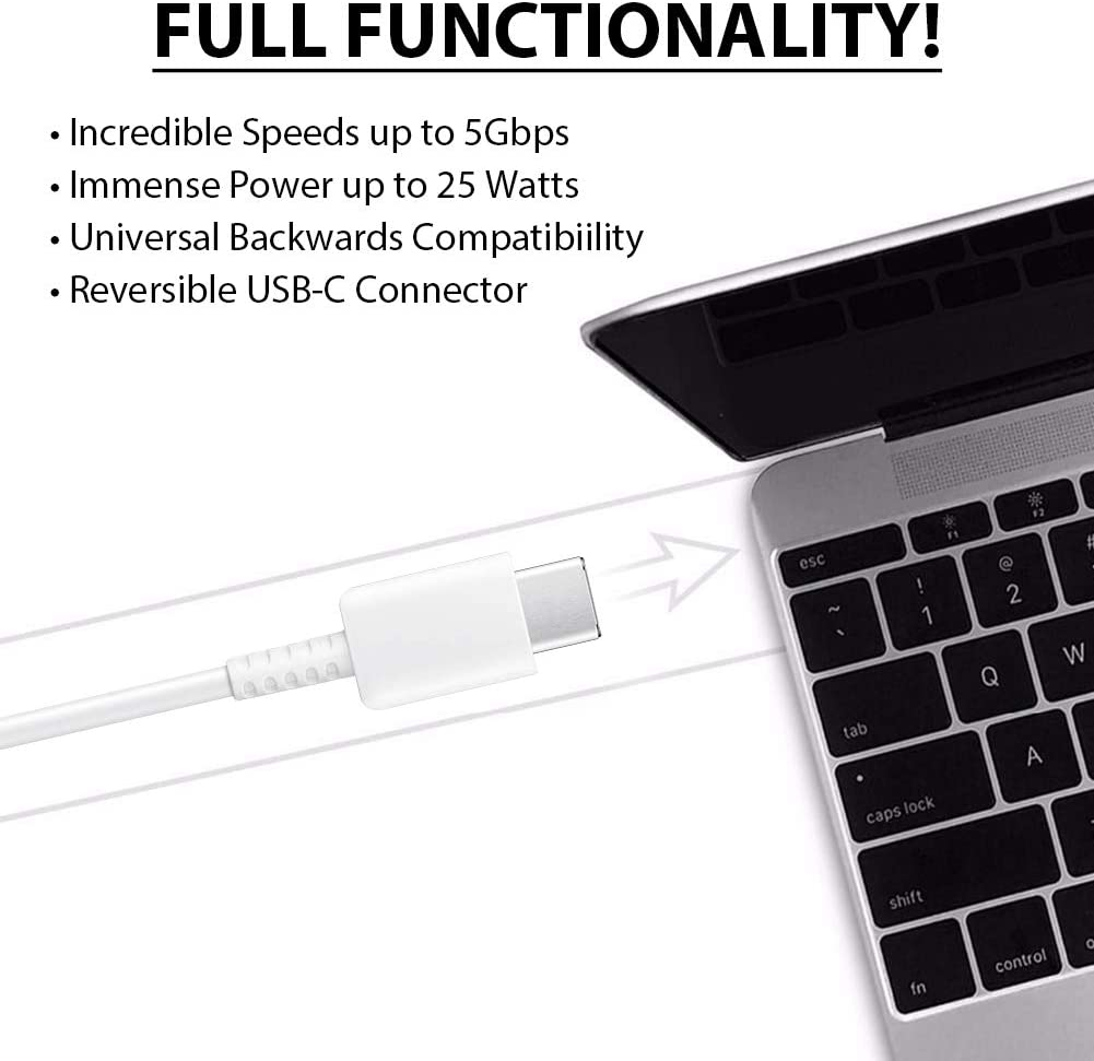 White 3.3Ft ACCE PRO USB-C Charging Transfer Cable for DragonTouch MAX 10!