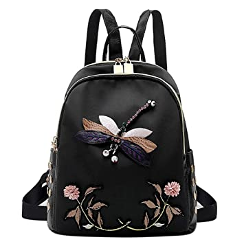 Backpacks New Style Women Black Vintage Style Dragonfly Embroidery Backpack Ladies Traditional Craft Oxford Polyester Shoulder Bag Popular