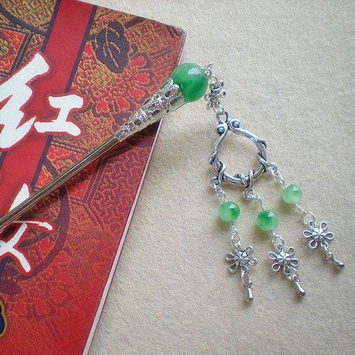 Hair Tibetan Silver Pin (usongs Tibetan silver hairpin classical floating flowers jade/step shake tassel/Accessories/1106)