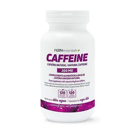 Cafeína Natural de HSN Essentials 200mg – Extracción de Granos de Café Verde, máxima energía, Sin Gluten, Sin Lactosa, Apto Vegano – 120 ...