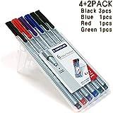 Staedtler Triplus Fineliner Pens 6 Color in Case, 0.3mm, Metal Clad Tip, Assorted