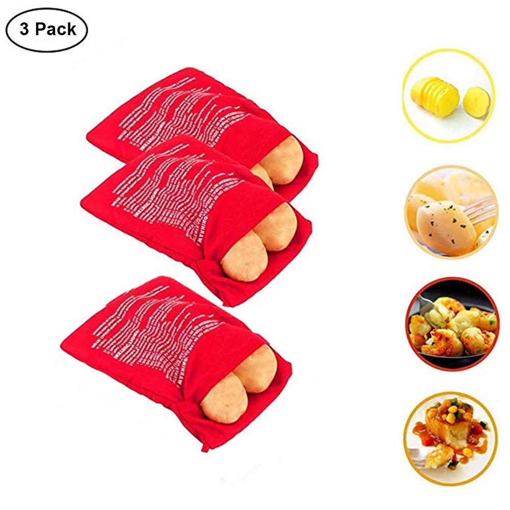 3 Packs Reusable Potato Express, Microwave Potato Bag Cooker, Tortillas Old Bread Baking Pouch Delicious Quick Grip Bag in 4 Minutes