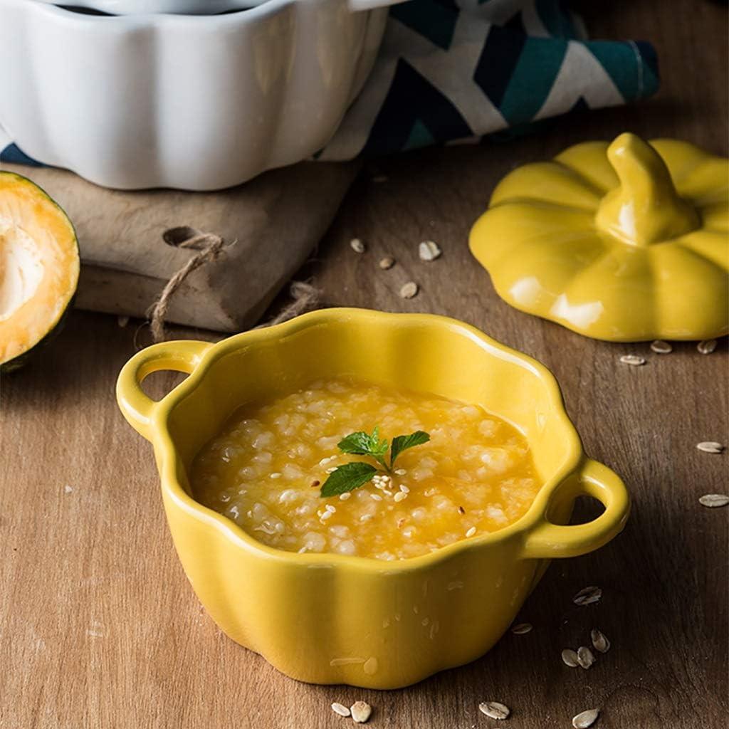 AHAI YU Calabaza de colecci/ón de cer/ámica Vegetal Soup Bowl con Tapa con Tapa Gres Cosecha de Calabaza Plato de Sopa con Asas sopera de Porcelana Fina Caja de Calabaza