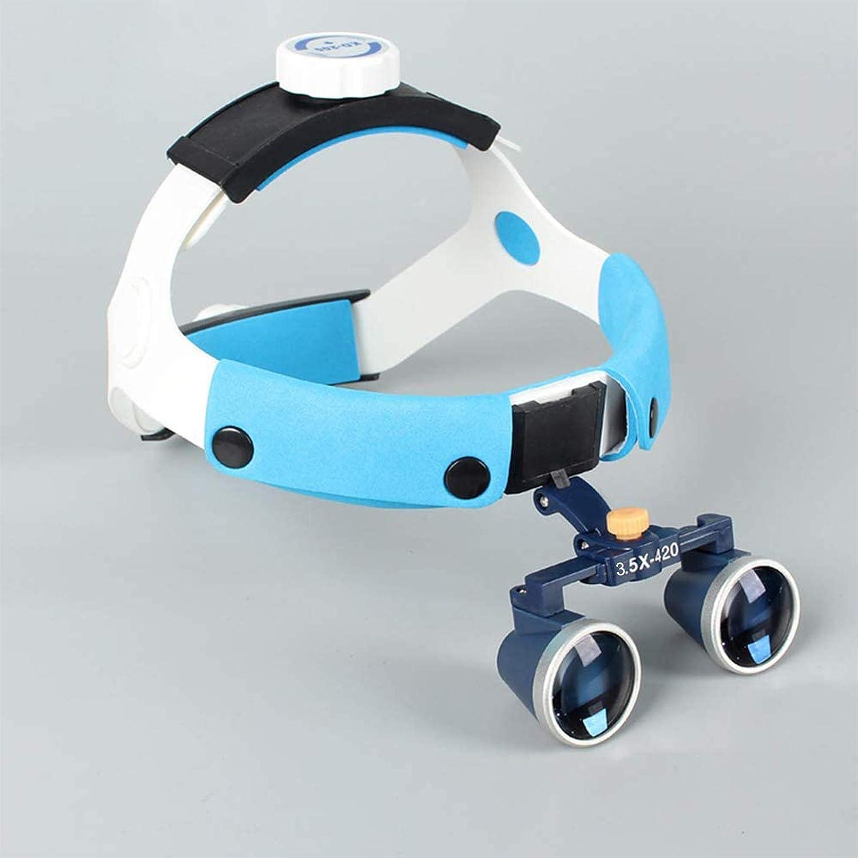 YZJYB Diadema Dental Gafas médicas quirúrgicas lupas binoculares de 3,5 X 420 MM Profesión médica Lupa médico lupas antiniebla Gafas para Equipo de Laboratorio, Dentista, operación