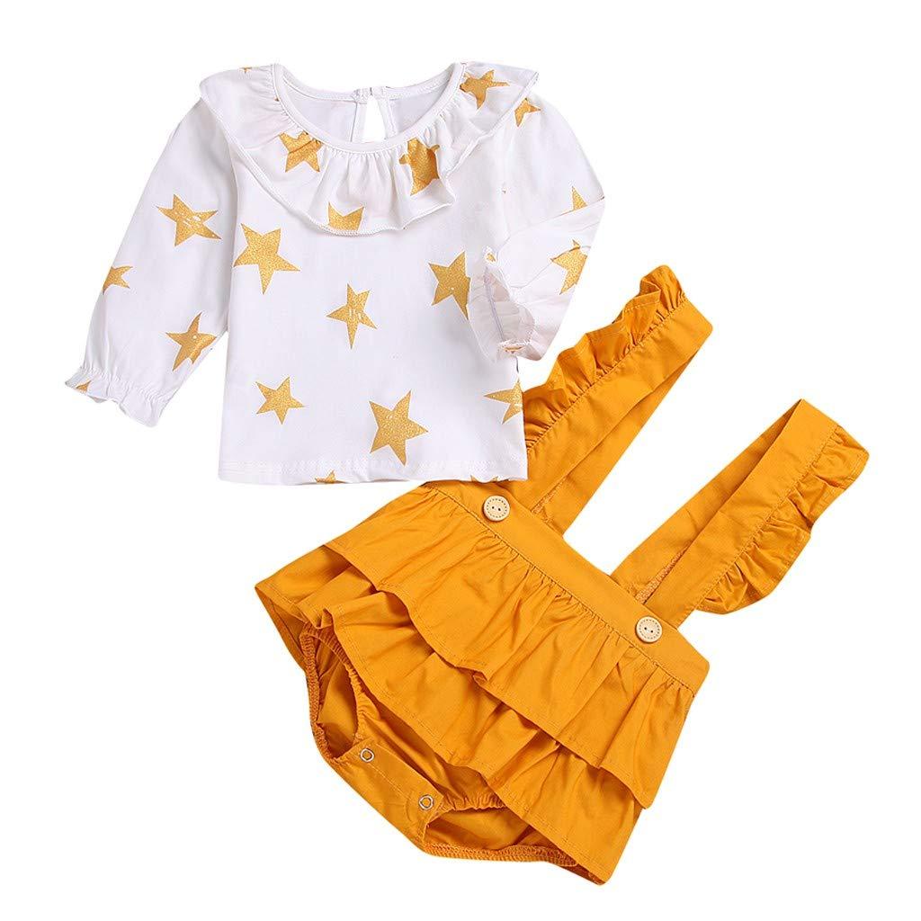 Mitlfuny Bebé Niñas Conjunto de Ropa Camisetas de Manga Larga Estrella Impresión Collar de Muñeca Camisas de Algodón para Niña Niños Primavera Verano Tops ...