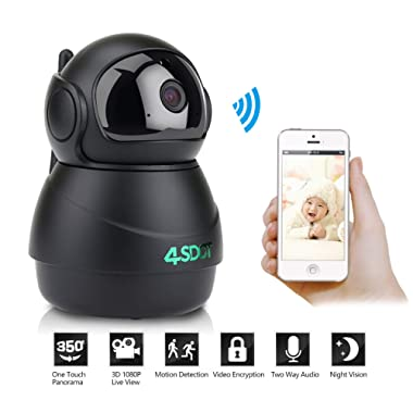 Wireless IP Camera 1080P,Nanny Cam,360 Degree Smart WiFi Camera 3D Navigation Panorama View Night Vision,Cloud Storage,Motion Detection,Two-Way Audio Pan/Tilt/Zoom for Baby/Pet/Elder,Support SD Card