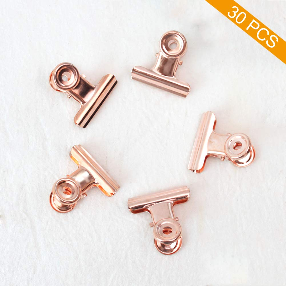 30 Clips Aprieta Papel (22mm) Rose Gold