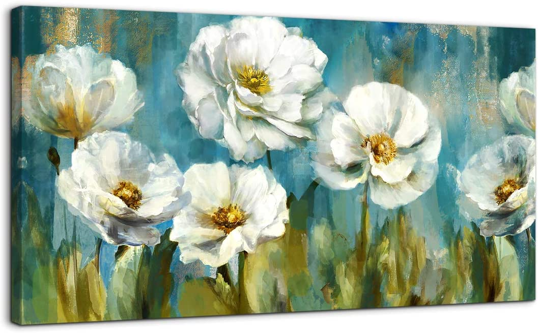 Amazon Com Canvas Art Wall Decor For Living Room Large Wall Art Modern Home Decor White Flowers Green Abstract Theme Framed Art Prints Wall Decor For Bedroom Modern Artwork Living Room Wall Decor