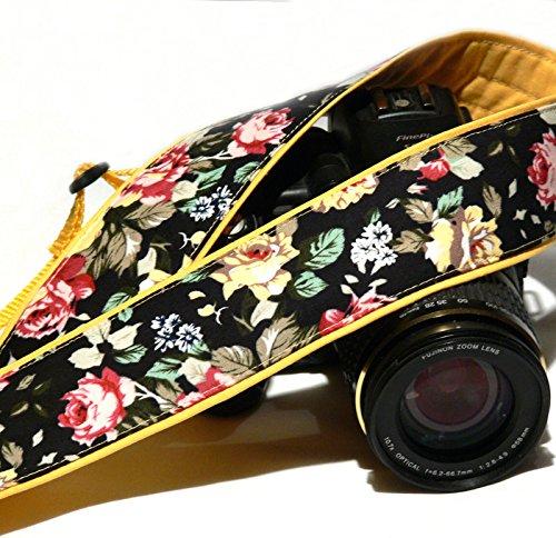Flowers Camera Strap. DSLR Camera Strap. Nikon Canon Camera Strap. Yellow camera strap. Camera Accessories; 034