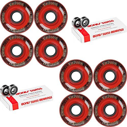 Labeda WHEELS Inline Hockey DYNASTY 3 72mm X-SOFT Red 8-Pack Bones Swiss by Labeda