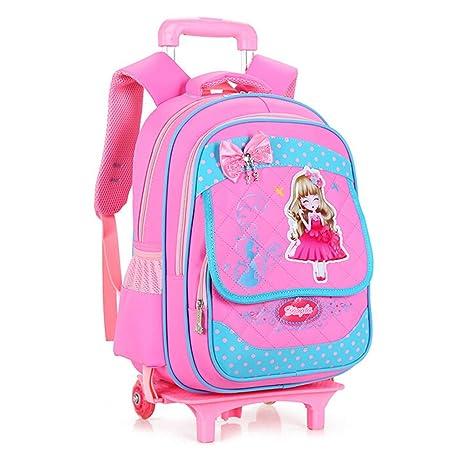 Niños mochilas escolares los niños dibujos animados Mochilas Carro con ruedas Sweet Niñas resistente al agua