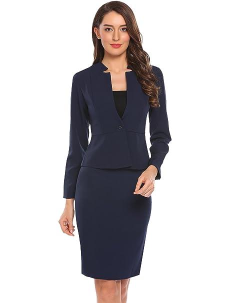 Amazon Com Zeagoo Women 2 Piece Long Sleeve Office Lady Blazer And