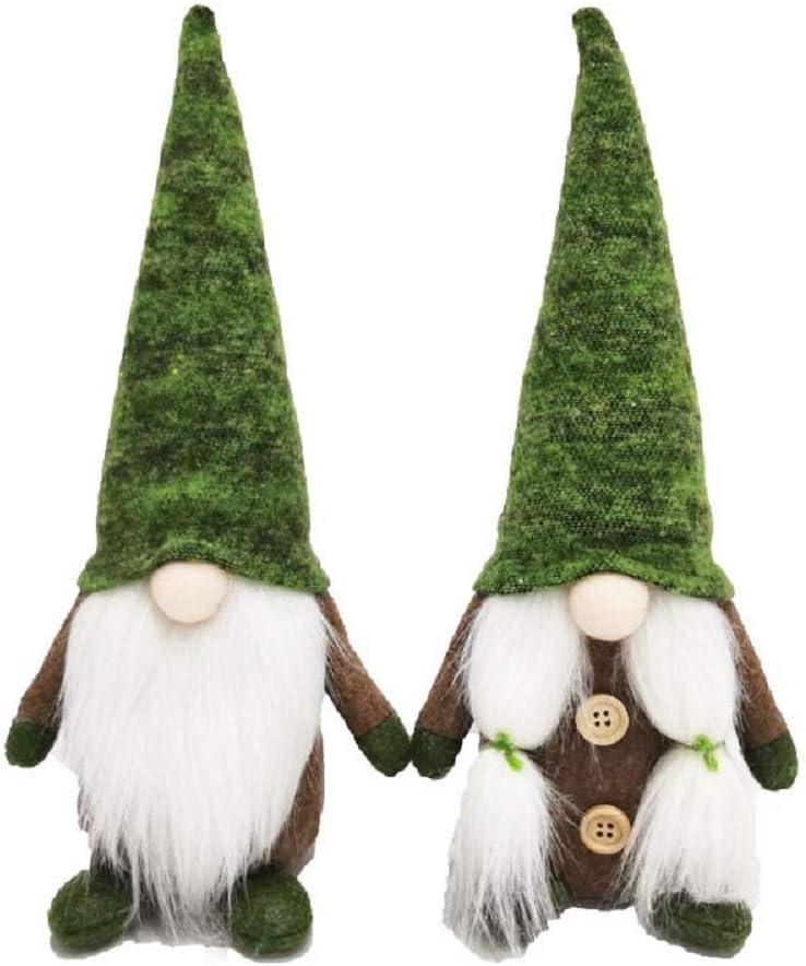 Nara & Dan Christmas Gnome Gift (Pair) Holiday Home Decoration Kids Present Handmade Scandinavian Tomte Home Ornaments (Green)