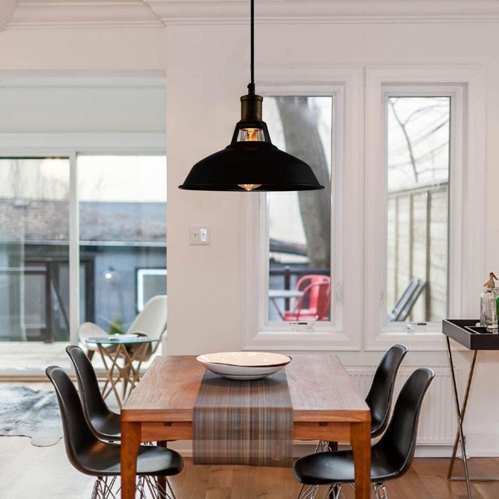 Industrial Lámpara Vintage Colgante, CMYK Negro Metal Lámpara de Techo Iluminación Decorativa para Cocina, Restaurante, Cafetería, Sala(E27, ...