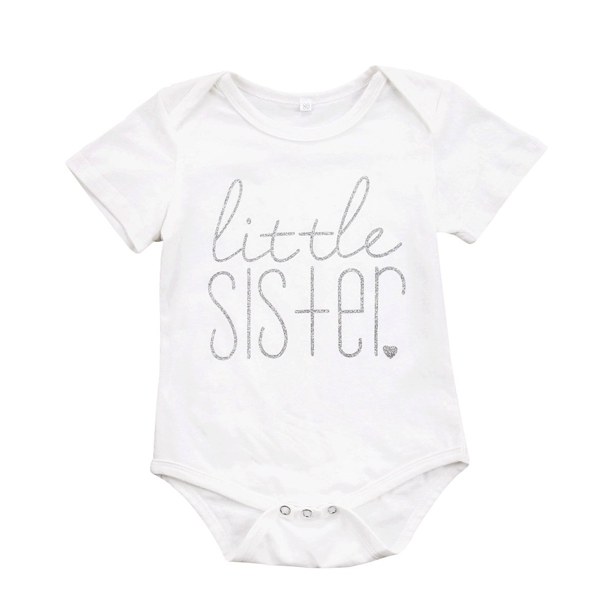 Little Sister Print Arrow Pattern Romper, White (Little Sister), 18-24 Months/Tag 100