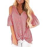 Women Tops T Shirt,Sharemen Fashion Short Sleeve Dew Shoulder Striped Print Tee Casual Blouse T-Shirt Tops