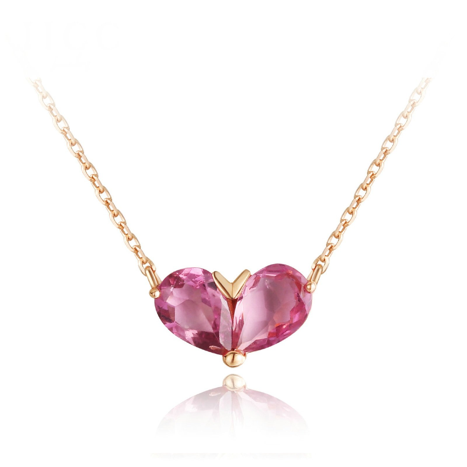Daesar 18K Gold Necklace For Women Heart Water Drop Natural Red Tourmaline Necklace Chain Length: 40CM