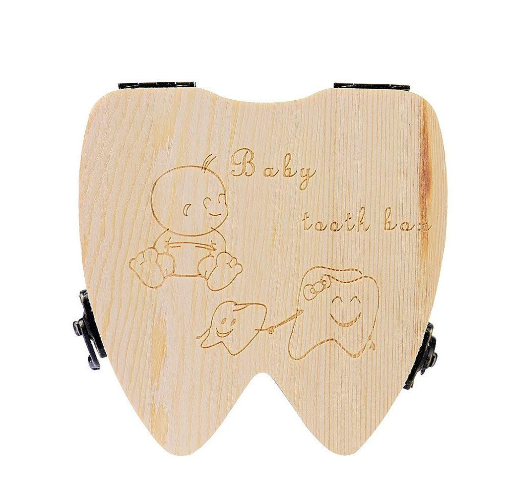 Lovely Baby Teeth Save Box Organizer Tooth Collection Souvenir Case Wooden Handmade Keepsake Durable 12 * 11.7 * 3.8 cm (Tooth Shape) Txyk