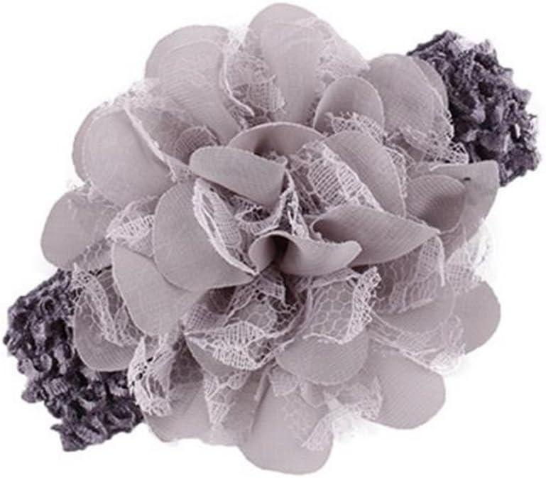 CAOLATOR Blume Haarreifen Stirnband Headwear Band Kind Handbuch Chiffon Spitze Kopfhaarband Weich Kids M/ädchen Grau