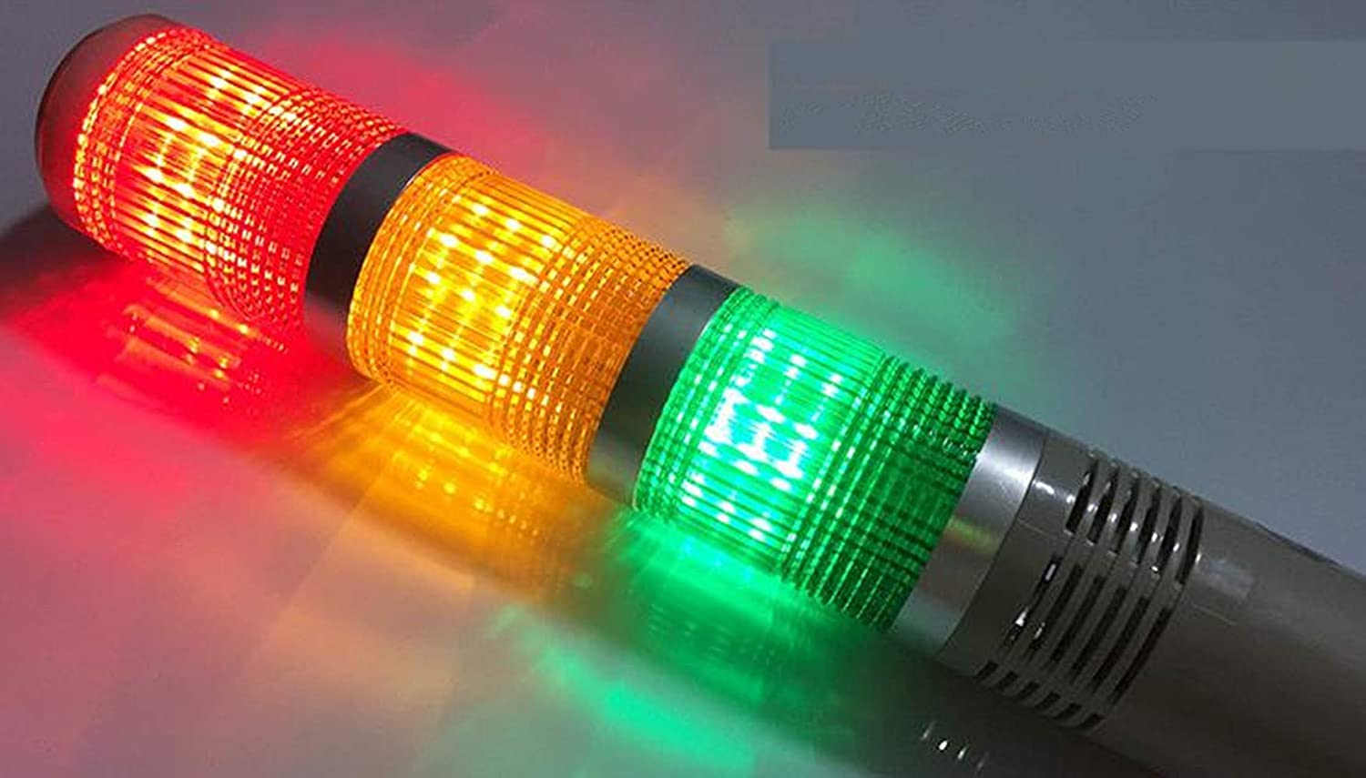 3 LED, 12V YJINGRUI LED Industrial Signal Tower Light Safety Stack Alarm Warning Lamp Multilayer Rod Type With buzzer For CNC Machines