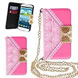 Xtra-Funky Exclusive PU Leather Lace Pattern & Golden Bow Flip Case Cover Purse Handbag With Credit Card and Money Slots & Detable Golden Chain For Samsung Galaxy S3 (i9300) - Pink