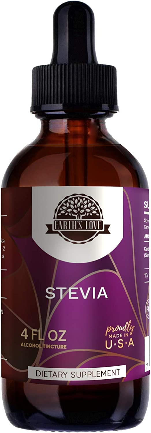 Earth s Love – Stevia A120 Alcohol Herbal Extract Tincture, Super-Concentrated Organic Stevia Stevia Rebaudiana Dried Leaf 4 fl oz