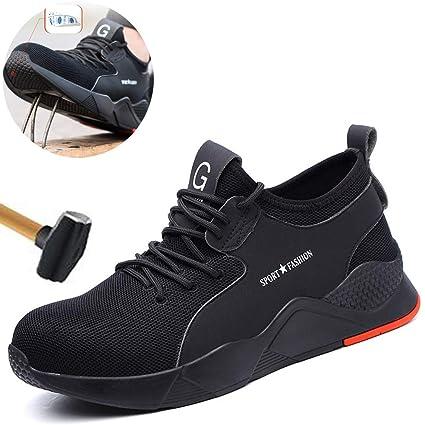 Dxyap Scarpe Antinfortunistica Uomo, Leggere Maschili con Puntale in Acciaio Scarpe da Lavoro Punta in Ferro S1P SRC Uomo Scarpe da Lavoro Scarpe