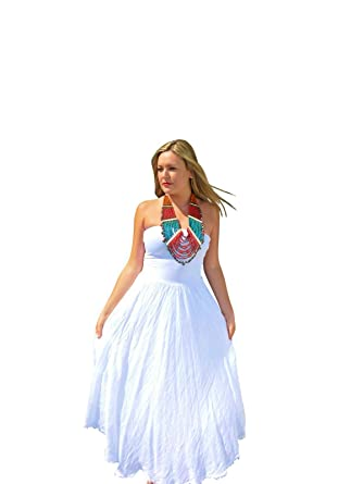 f38ac4ff9a0 Luna Luz White Linen Strapless Dress at Amazon Women s Clothing store