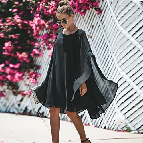 Clearance! Mini Dress,Showking Women's Batwing Sleeve Solid Chiffon Cloak Cape Dress (XL) by Showking_women Dress (Image #1)