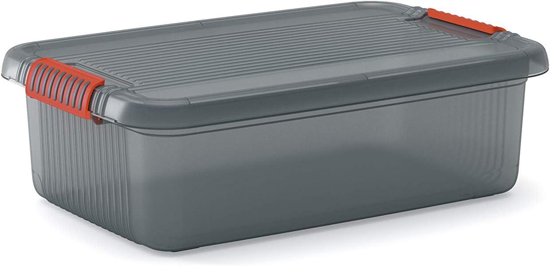 KIS 8561000 0720 01 K Latch Box-Caja de almacenaje pl/ástico Fumar Color Gris y Naranja 28 L