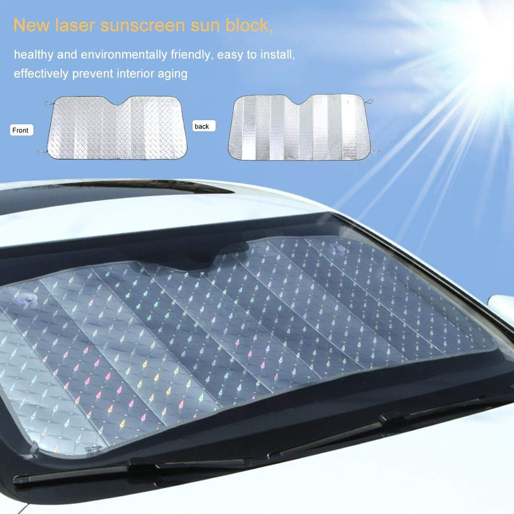 126x60cm parasoles de Coche Delantero Parasol de Coche Auto Frontal Parabrisas Protector Resistente a los Rayos UV y a Luz de Sol Knowled Parasol para Parabrisa