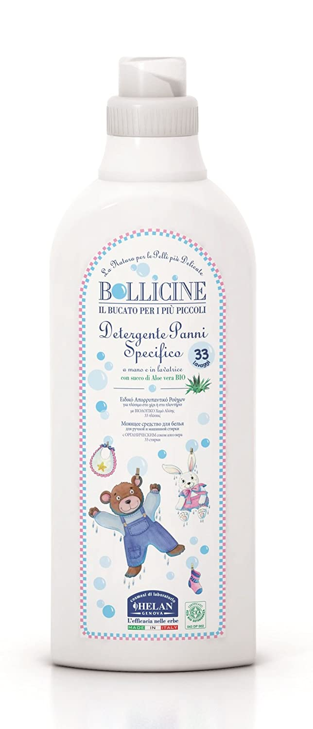 Bollicine Certified Eco Organic Baby Clothes Laundry Liquid for Sensitive Skin, Dermatology Tested, Vegan Friendly, 1Litre 33 Loads (1 Bottle) Helan 058774300316