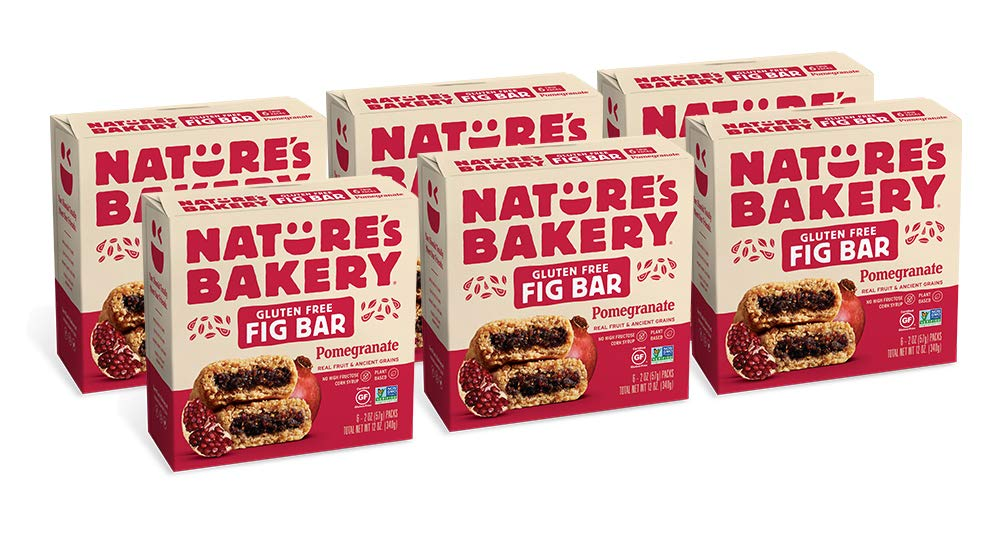 Nature's Bakery Gluten Free Fig Bars, 6- 6 Count Boxes of 2 oz Twin Packs (36 Packs), Pomegranate, Vegan, Non-GMO, Packaging May Vary by Nature's Bakery