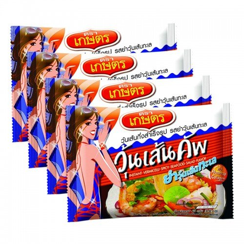 Kaset Insant Vermicelli Spicy seafood Flavour 42 g. Pack 4 (Vietnamese Lunch Box)