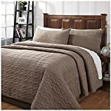 Be-you-tiful Home Zig Zag Taupe Queen Quilt Set with 2 Standard Shams