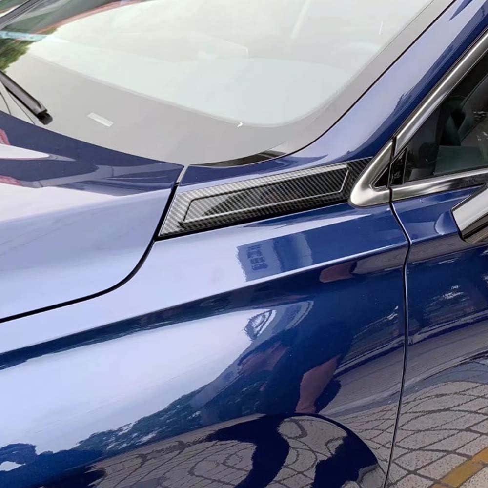 Carbon Fiber YUZHONGTIAN 2019-2020 for Hyundai Santa Fe TM Car Accessories Front Side Emblem Strip Decorative Cover Trim ABS 2PCS