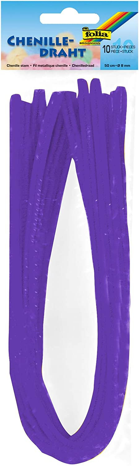 Figures and Other Shapes folia 77832 Pipe Cleaners Pack of 10 Dark Purple Diameter 8 mm and 50 cm Long Ideal for Children for Crafts and Design Animals