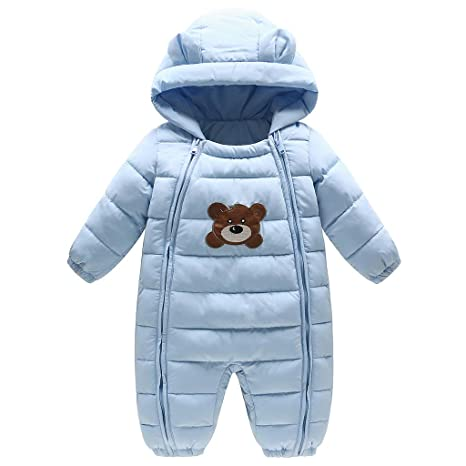 Bebé Ropa de Invierno Mameluco con Capucha Pluma Traje de Nieve Pelele Oso Azul 3-