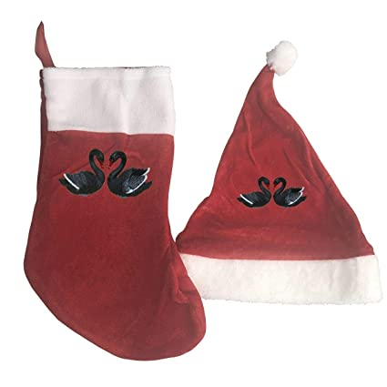 aeb2895d12b71 B-B-E-A-H Two Swans Print Christmas Stockings and Hat Santa Hat+Socks  Decorations Ornaments Gift