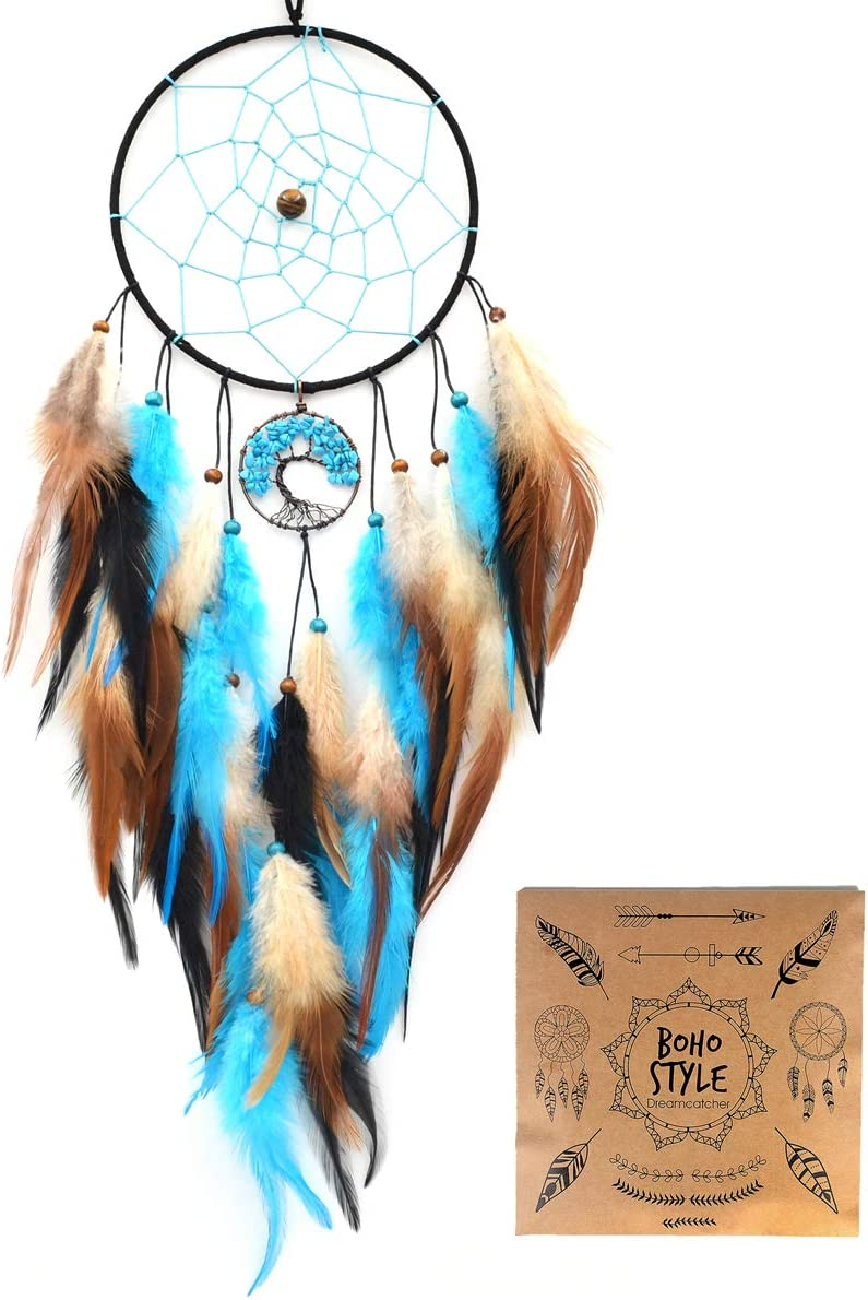 Urdeoms Tree of Life Dream Catcher Turquoise Dream Catchers Wall Decor Blue Dream Catchers with Feathers Wall Hanging Home Decor Dia 6