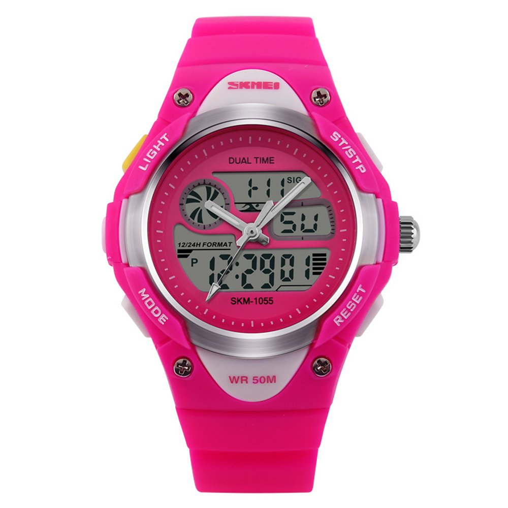 Girls Watches Digital Analog Dual Time Display Watch for Teens Youth Waterproof Rose by AMCAS (Image #2)