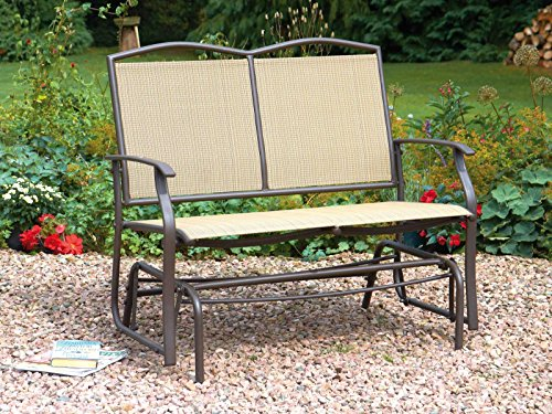 2 Seater Glider Bench With Rocking Action Garden Bench Weather Resistant Textilene Seat and Back Rest Steel Frame Rocking Bench h