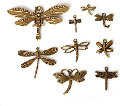 retro style Beautiful dragonfly alloy charm pendant 27 x 32mm