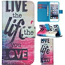 iPod Touch 5 case,iPod Touch 6 case,Gift_Source,Gift_Source Brand [Live the life you love] [Stand Feature] Premium Wallet Case [Wallet Function] Flip Cover Leather Case For Apple iPod Touch 5 Touch 6