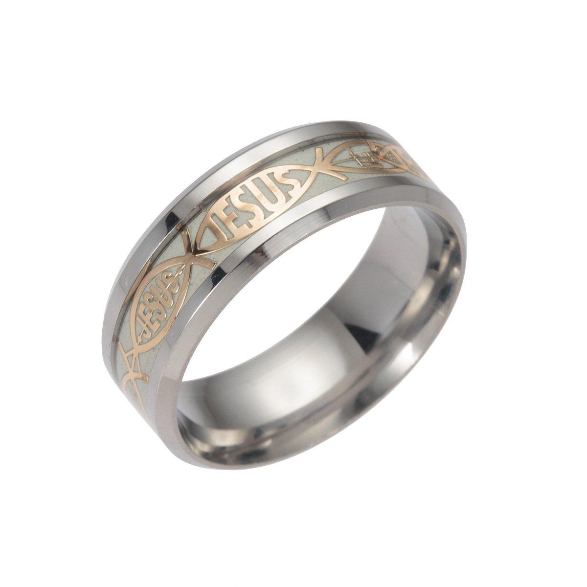 Ginger Lyne Collection Glow in The Dark Jesus Jesusfish Stainless Steel Wedding Band Ring