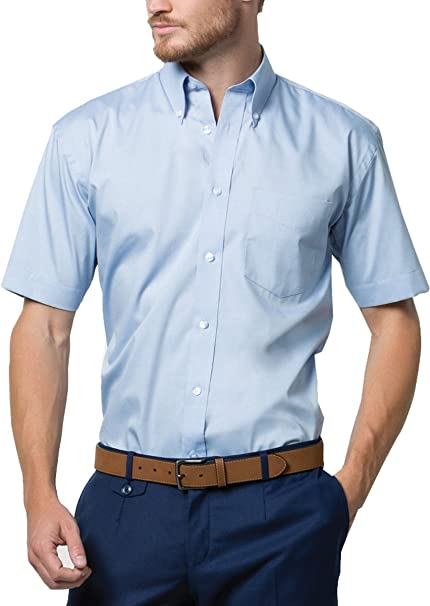 Nuevo Kustom Equipo CABALLEROS PLANCHADO FÁCIL Tela Corporativo Oxford Camisa manga corta - Blanco, 23: Amazon.es: Ropa y accesorios