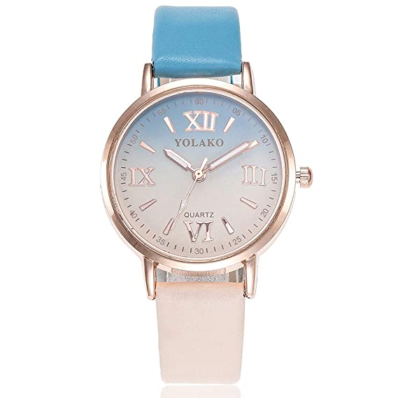 Clearance Sale! Womens Watch, Iuhan Womens Girls Casual Quartz Leather Band Gradient Watch Analog